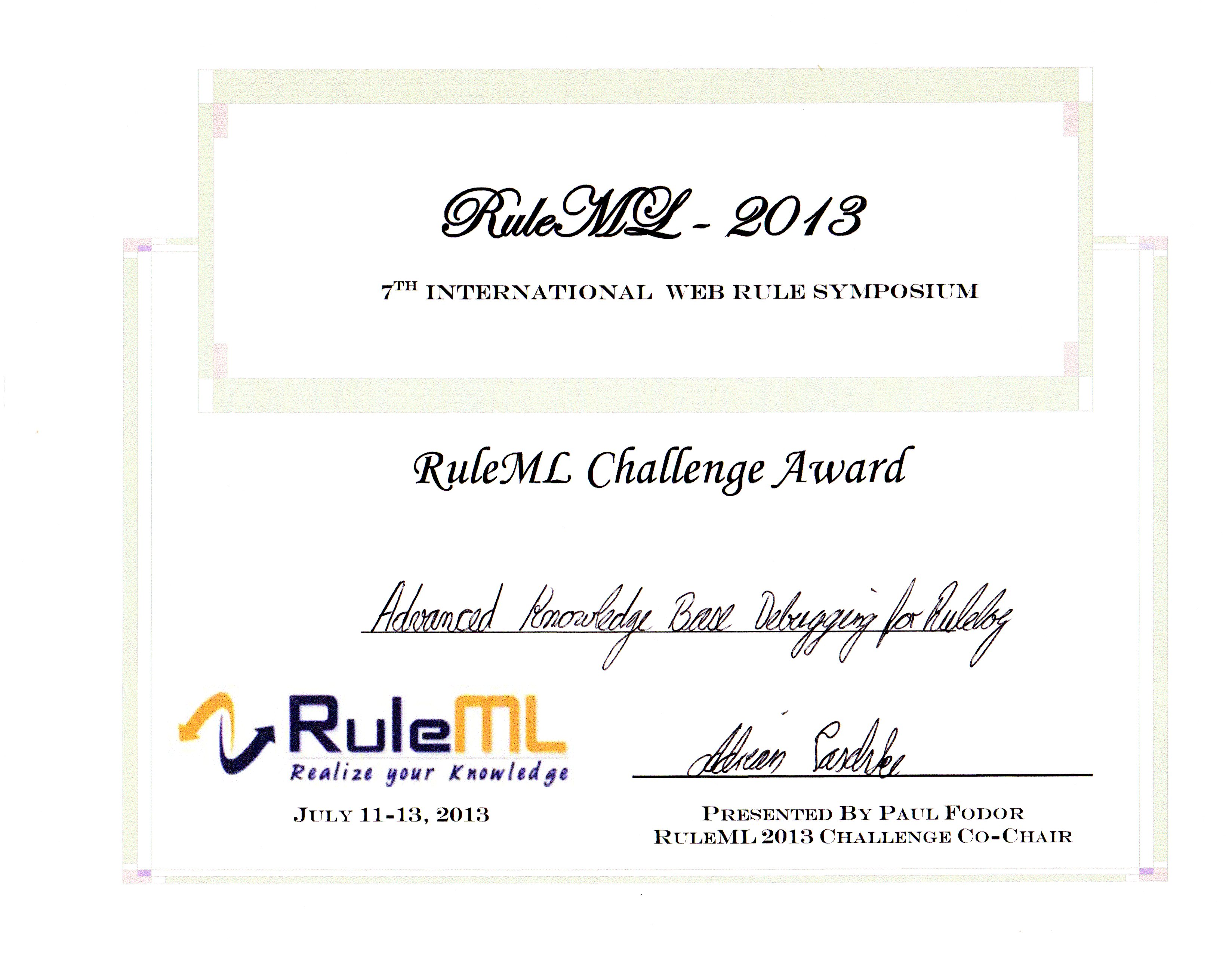 Rulelog system presentation wins Award at RuleML 2013